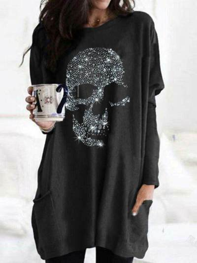 Women diamond decoration skull pattern loose long sleeve T-shirts