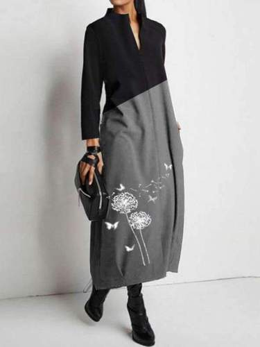 Casual Gored Dandelion print V neck Long sleeve Maxi Dresses