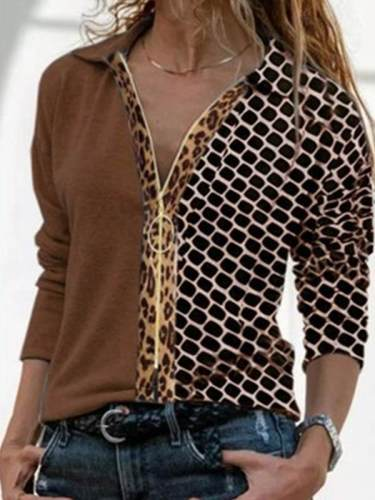 Casual turn down neck zipper decoration women special blouses