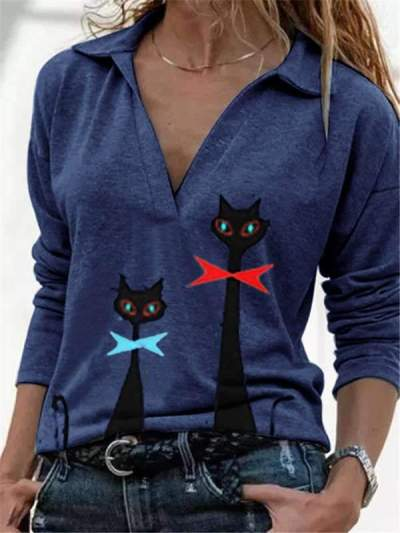 Casual Cat print V neck Long sleeve T-Shirts