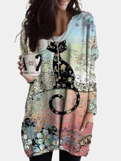 Women bohemia cute cat printed colorful long sleeve shift dresses