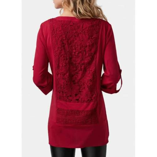 Stylish Elegant Lace Gored V neck Long sleeve Blouses
