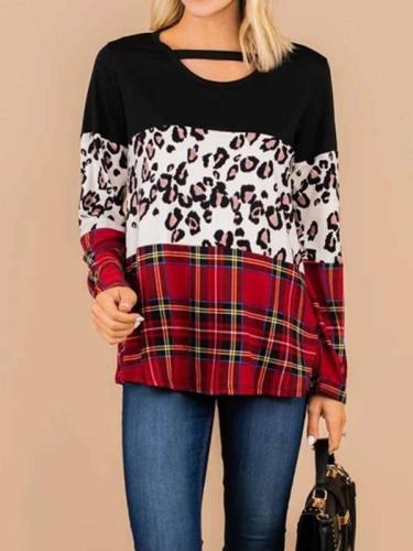 Casual Loose Gored Print Round neck Long sleeve T-Shirts