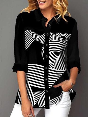Stliysh Elegant Stripe print Lapel Long sleeve Blouses