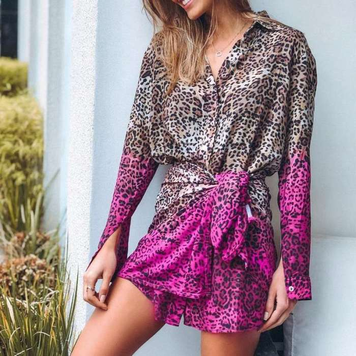 Casual Sexy Leopard pring Gored Lapel Long sleeve Shirt Skater Dresses