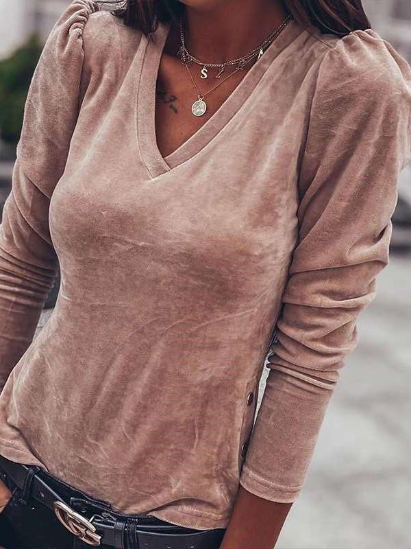 Fashion Pure Suede V neck Long sleeve T-Shirts