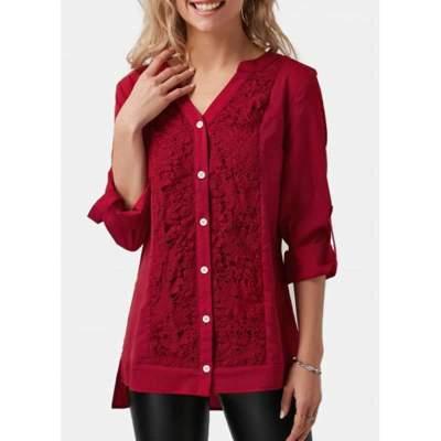 Stylish Elegant Lace Gored V neck Long sleeve Blouses