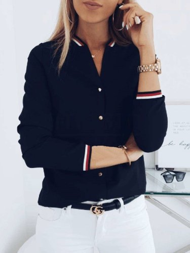 Fashion Gored Stripe V neck Long sleeve Blouses