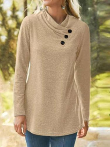 Casual Pure V neck Fastener Long sleeve T-Shirts