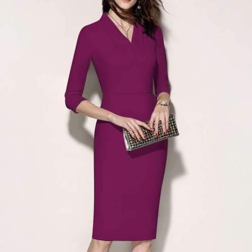 Stylish Elegant Pure V neck Three quarter sleeve Bodycon Dresses