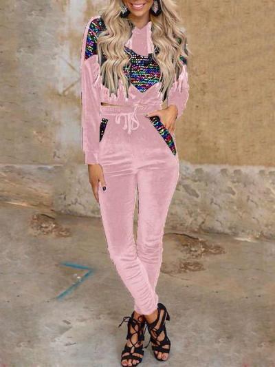 Pleuche Gored print Hoodi Sweatshirts & Pants Suits