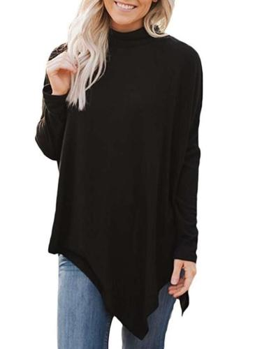 Women Pure Irregular High collar Long sleeve T-Shirts
