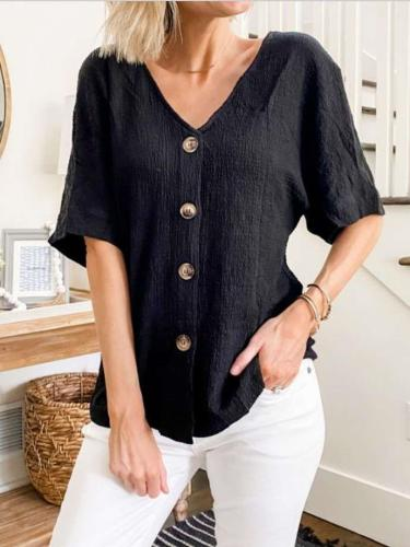 Casual Pure Fastener V neck Short sleeve Blouses