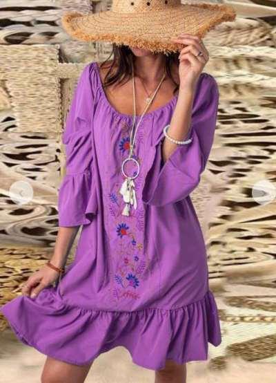 Embroidery  Round neck Long sleeve Falbala Shift Dresses