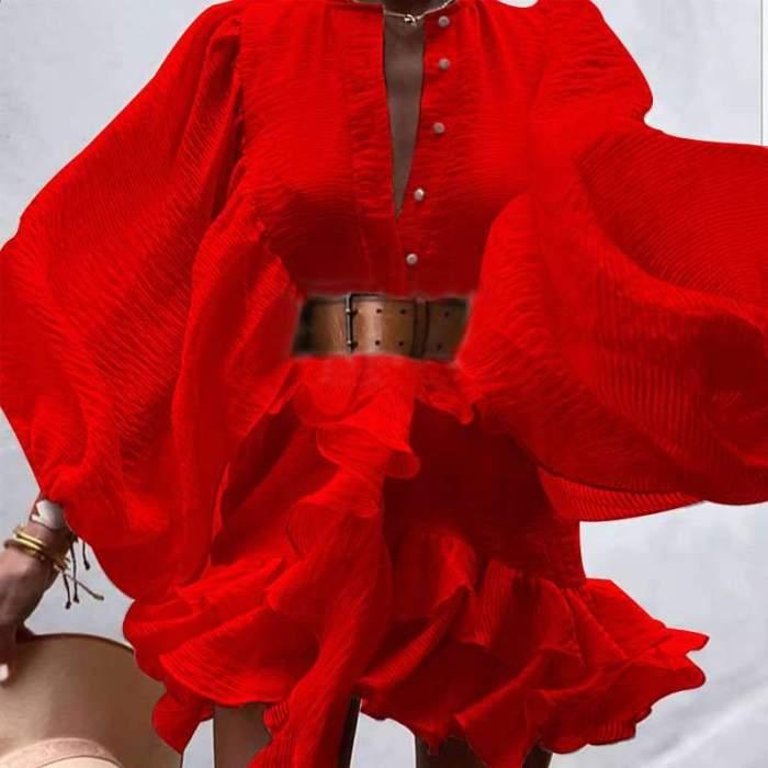 Casual Loose Pure V neck Puff sleeve Belt Skater Dresses