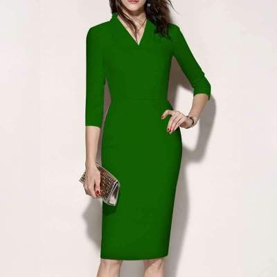 Stylish Elegant Pure V neck Three quarter sleeve Bodycon Dresses