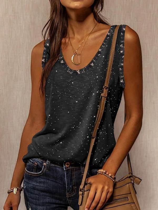 Sleeveless V-neck mid-length T-shirt fashion vests