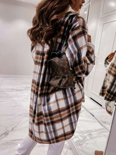Casual Loose Plaid print Lapel Long sleeve Shirt Coats