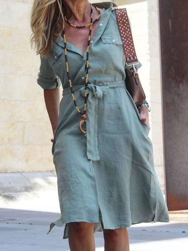 Casual Pure Lapel Long sleeve Lacing Shirt Skater Dresses