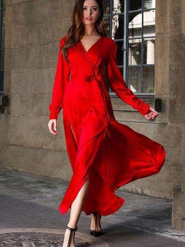 Fashion Elegant Pure V neck Long sleeve Vent Lacing Skater Maxi Dresses