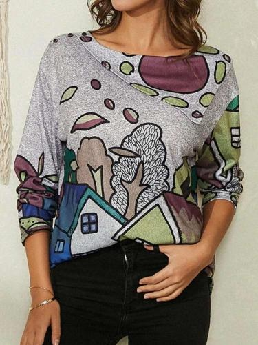 Fashion Print Lapel Long sleeve T-Shirts