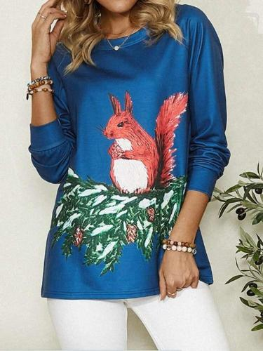 Casual Squirrel print Round neck Long sleeve T-Shirts
