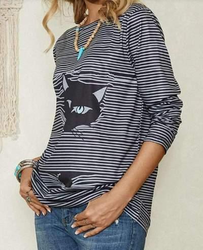 Stripe Cat print Round neck Long sleeve Plus T-Shirts