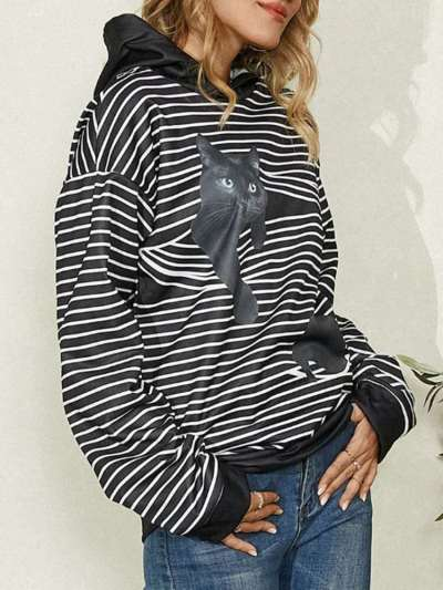 Casual Stripe Cat print Long sleeve Hoodies Sweatshirts