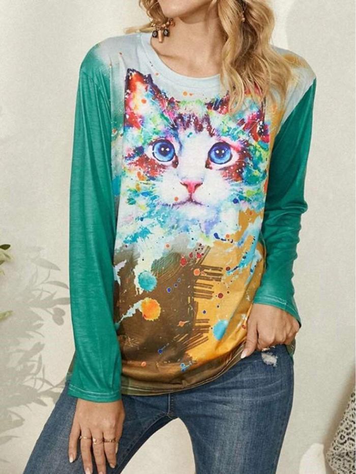 Casual Plangi Cat print Round neck Long sleeve T-Shirts