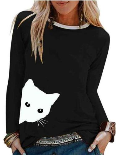 Fashion Cat print Round neck Long sleeve T-Shirts