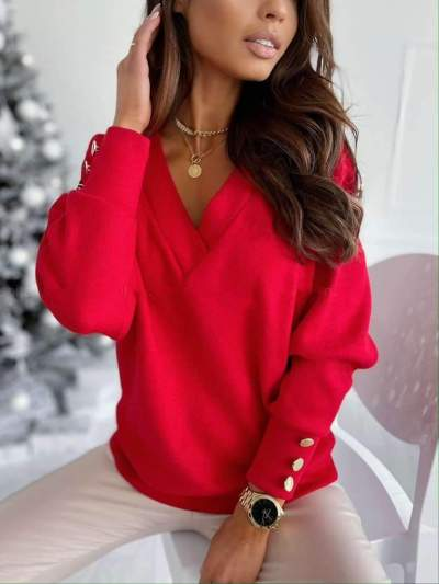 Pure V neck Long sleeve Knit Sweaters