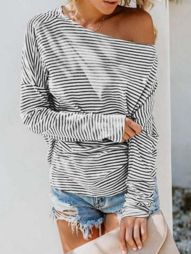 Casual Stripe Round neck Long sleeve T-Shirts