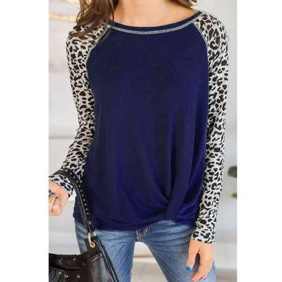 Women Round neck Gored Leopard print Long sleeve T-Shirts