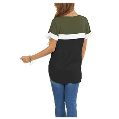 Stylish Gored V neck Short sleeve T-Shirts