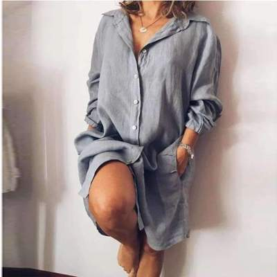 Casual Loose Pure Lapel Long sleeve Fastener Shirt Shift Dresses