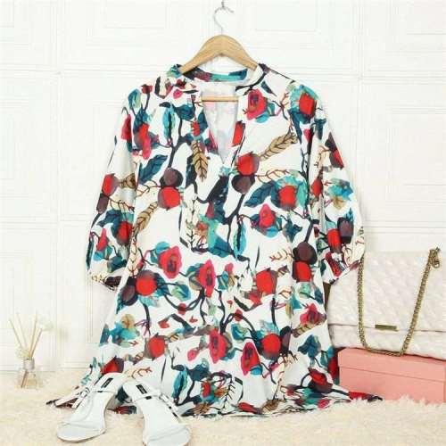 Casual Loose Floral print V neck Long sleeve Shift Dresses