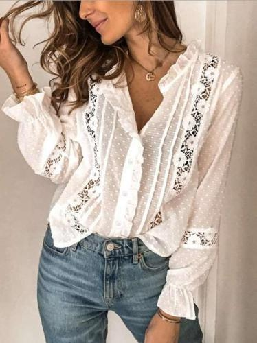 Casual Pure Stringy selvedge Stand collar Long sleeve Blouses