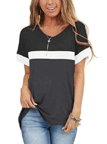 Stylish Gored V neck Short sleeve T-Shirts