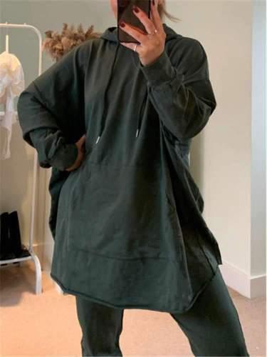 Casual Loose Pure Plus Long sleeve Hoodies Sweatshirts