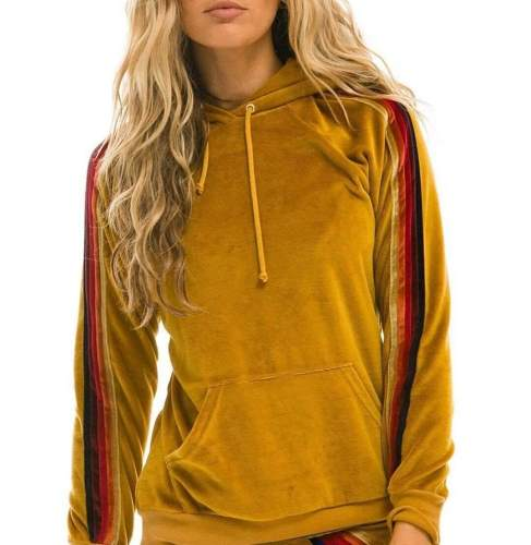 Fashion Stripe Suede Long sleeve Hoodies Sweatshirts