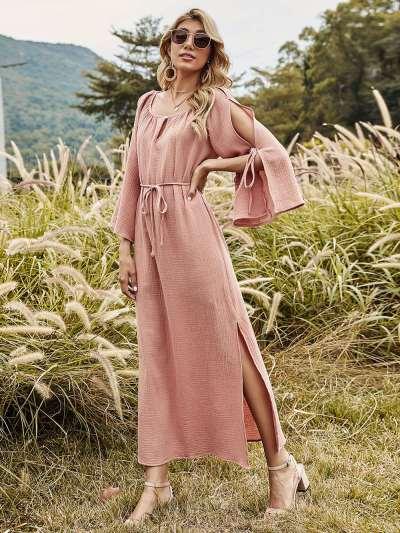 Split long skirt of tall waist pure color dress