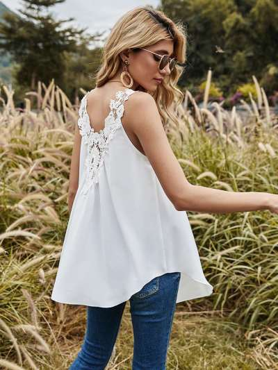 Spring new Back hollowed-out Lace Camisole