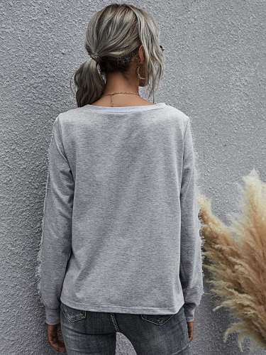Solid color loose round neck long sleeve top lace t-shirt