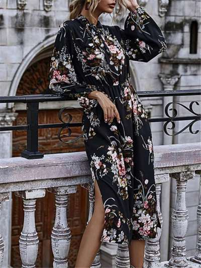Stylish Casual Floral print Round neck Long sleeve Skater Dresses