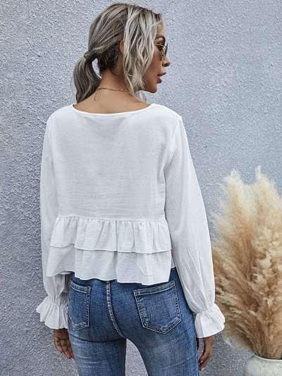 Plain flounce flare sleeve round neck ladies t-shirt