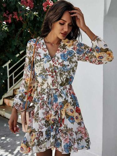 Stylish Floral print V neck Long sleeve Skater Dresses