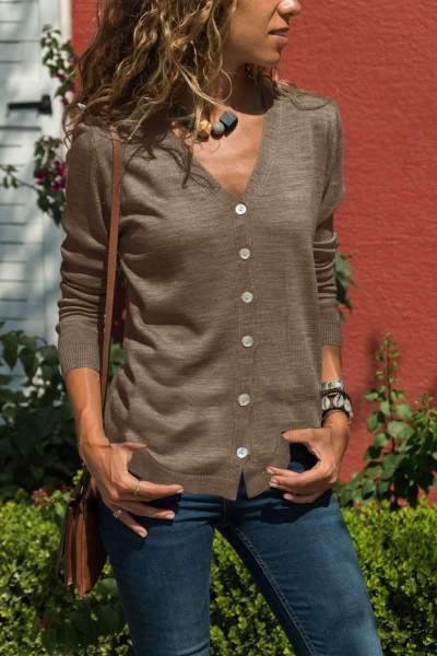 Stylish Elegant Pure V neck Long sleeve Fastener Knit Cardigan