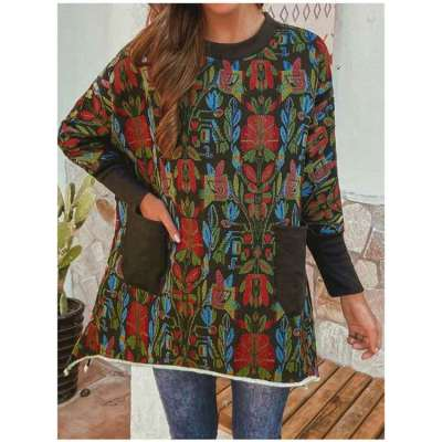 Casual Loose Floral print Round neck Long sleeve Sweatshirts
