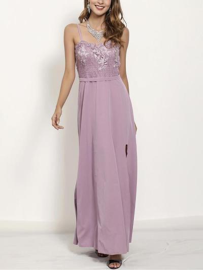 Strap women elegant long lace Evening dresses