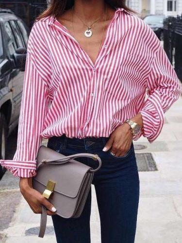 Women sexy leisure loose stripe long sleeveBlouses